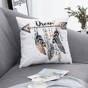 Dream Feather Arrow Gold and Black Pillow Case